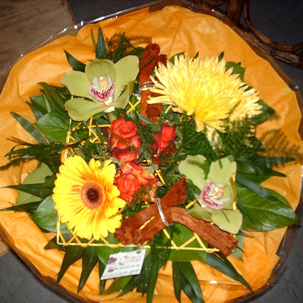 Bouquet rond jaune orange