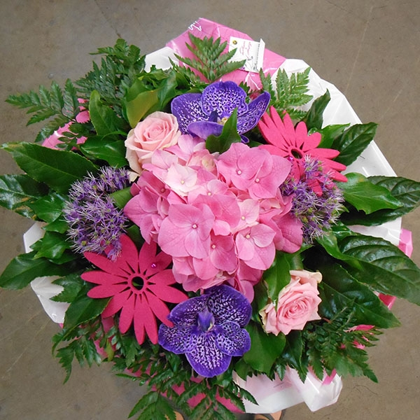 Bouquet rond rose violet
