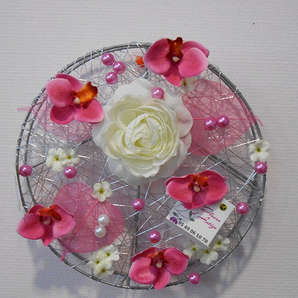 Tableau grillage rond rose blanc